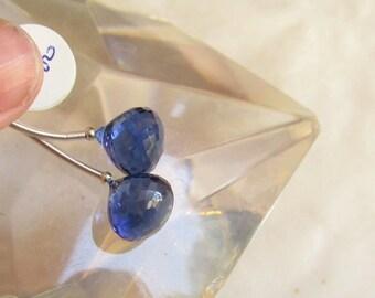 Summer Sale Sapphire Blue Quartz Onion Briolette Beads 12mm, Matched Pair,