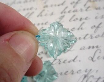 Summer Sale Carved Briolette Beads Pair Swiss Blue Topaz Quartz Flower, QTY2, 14mm Aquamarine Blue