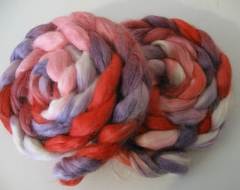Red Hearts Mohair Wool Nylon Blend wool roving, spinning fiber - 4.0 ounces