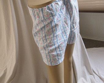 SALE - Stripe Heart Floral Flannel PJ Shorts - S/M (4770)