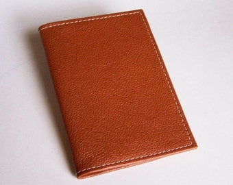 Leather Top-Stub Checkbook Cover - Tan Leather Check Book Holder