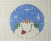 Snowman Catching Snowflakes Handpainted Needlepoint Canvas Christmas Ornament