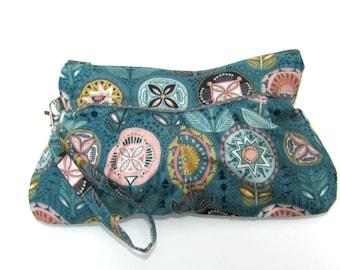 Wristlet Clutch Bag, Wristlet Bag, Wristlet Wallet,Pouch Wristlet, Zipper Pouch, Clutch Purse, Wallet Wristlet Sophia Flower,Clearanace