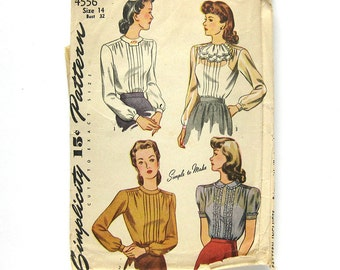 1940s Vintage Sewing Pattern - Simplicity 4556 - Misses' Blouse with Jabot / Size 14