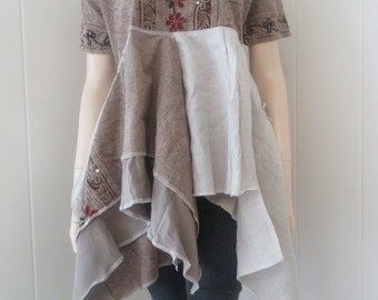 Lagenlook Boho Gypsy Tunic Floral Embroidered Hand Dyed Imported Cotton Linen Taupe & Sand One Size Fits S - L