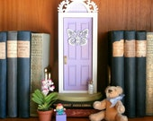 Lavender Fairy Door or Tooth Fairy Door, with architectural detail and butterfly embellishment