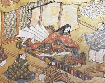 Vintage Japanese Kimono Obi Silk Piece with Gold Thread Bride Wedding Heian Princess Noble Lady Blossom Golden Water Garden