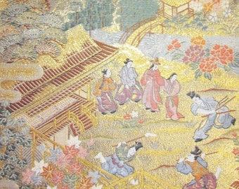 Vintage Japanese Kimono Obi Silk Piece with Gold Thread Bride Wedding Heian Noble People Golden Garden Teahouse Landscape