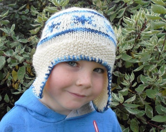 Knitting Pattern Hat Beanie Aviator Hat with Earflaps - Nordic Nights Hat (4 Sizes Toddler - Adult)