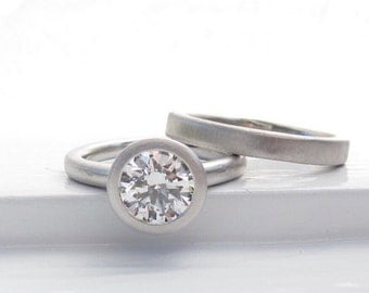 1.5ct diamond pebble ring engagement solitaire platinum
