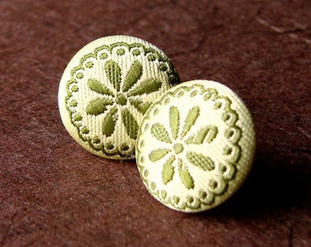Fabric Covered Stud Earrings - Olive Green and Off White Post Earring Pair