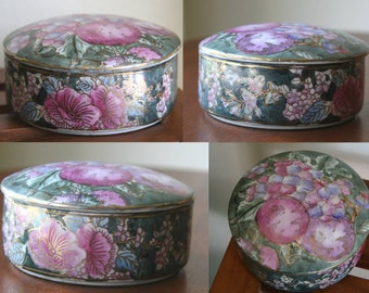 SUGAR PLUM: Vintage Porcelain Asian Jewelry Box, Hand-Painted Fruit & Azalea Flowers, Gold Leaf Gilding, Mulberry, Lavender, Spruce Green