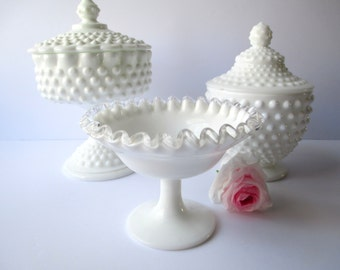 Vintage Fenton Milk Glass Hobnail Silver Crest Candy Dish Collection of Three - Wedding Decor