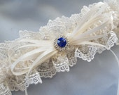 Ivory Lace Wedding Garter  Royal Blue Something Blue Rhinestone Accent Bridal Garter z