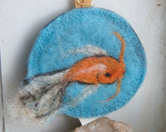 Needle Felted Ornament Medallion Koi Fish