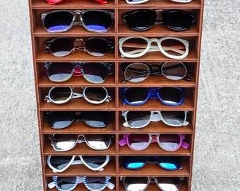 20ct Sunglasses Eyewear Display Case Storage Holder Organizer Shelving Shelf Glasses Rack Wood HANDMADE in Texas (FREE SHIPPING!)