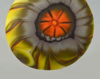 Sunflower  ... glass CABOCHON artsy organic lampwork jewelry designer cabs  by GrowingEdgeGlass/ Mikelene Reusse