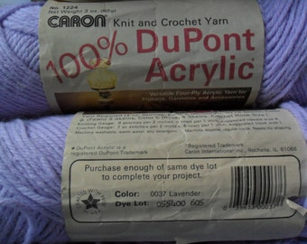 4 Skeins of Caron 100% Acrylic yarn in Lavender