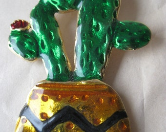 Cactus Green Gold Brooch Vintage Pin