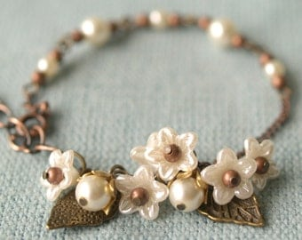 Lily chain bracelet - secret garden series pearls and antique vintage flower parts