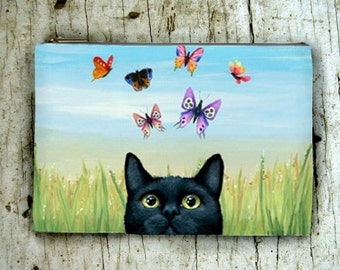 Cosmetic Bag Pouch Accessory for Purse black Cat 606 butterfly art by Lucie Dumas