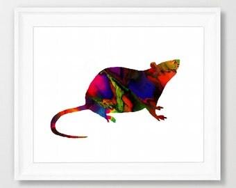 Digital Printable Art Print Mouse Colorful pop art wall print Download Wall decor L.Dumas