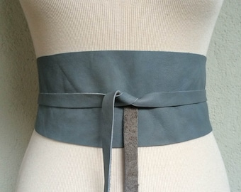 Handmade Blue Grey Stone Italian Real Leather Obi Belt - Made to Order