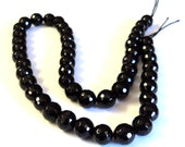 "Black Onyx 8mm Faceted Round Beads, 16"" Strand, Black Semi Precious Gemstone Beads, Jewelry Supplies"
