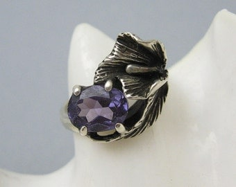 Sterling Calla Lily Ring Amethyst Vintage Purple Flower Ring R7148