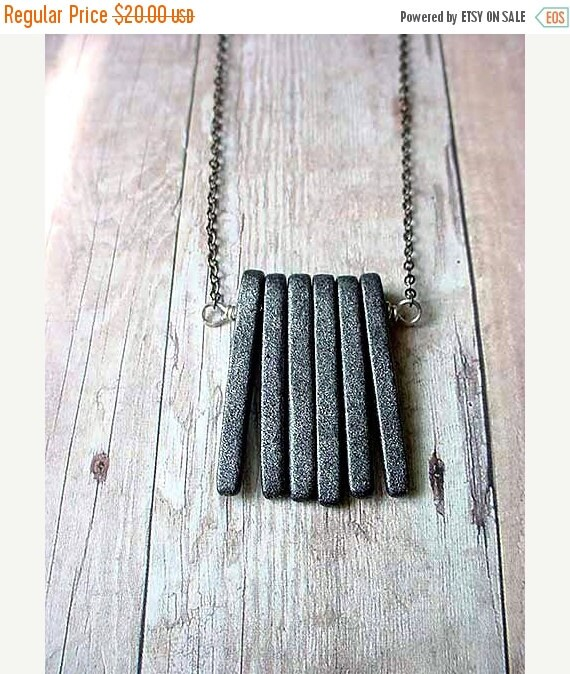 October Sale Modern Industrial Unisex Gray Spikes Necklace, Concrete Slate Grey Ceramic Pendant Gift Box
