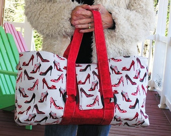 Handbag  The Shoe Diva - A Large Cloth Bag, Ready for Spring, with a Glamorous Shoe Theme