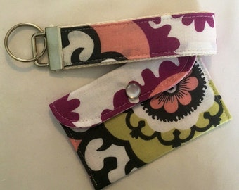 Wallet and key chain set purple and pink womens gift Under 10 READY TO SHIP