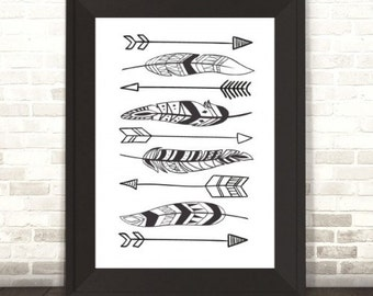 Tribal Arrows and Feathers Print