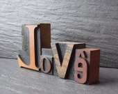 Quirky LOVE   -  Vintage Letterpress Printing Block Word