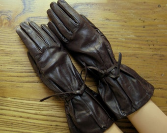 Leather Gauntlet Gloves, Vintage Brown Leather Gloves, Vintage Leather Gloves, Gauntlet Gloves, Brown Leather Gloves, Motorcycle Gloves