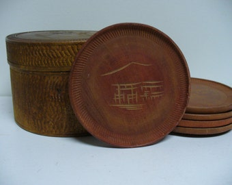 Vintage Japanese Round Wooden Box with Coasters