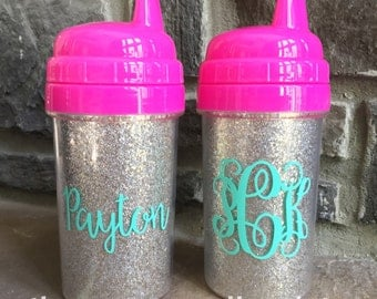 Personalized Monogram Glitter Insert Sippy Cup