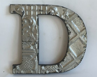 """Tin Ceiling Wrapped 8"""" Patchwork Reclaimed Metal Silver Letter """"D"""" Mosaic Wall Hanging 26105-16i"""