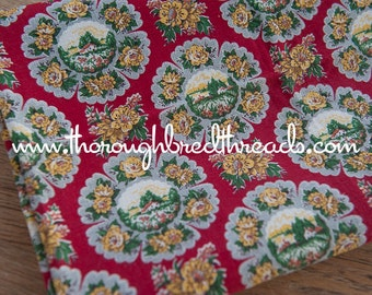 Sweet Scenic- Vintage Fabric 50s 60s Small Town Life Historical Farm Floral