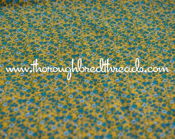 Colorful Lil Floral  - Vintage Fabric New Old Stock Blue Yellow Calico