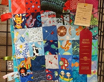 "Extra Large Tummy Time Tag Blanket, 168-square Sampler Quilt 30"" X 36"""