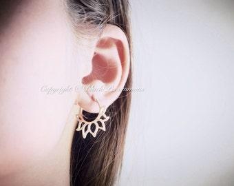 Sterling Silver Hoop Earrings with Lotus Petal Design - Solid 925 - Renge Feng Shui Lian Hua - Insurance Included