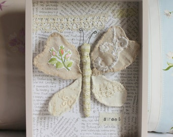 Wall art Butterfly antique fabric trim vintage embroideries beige pink green