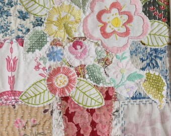 Wall art vase flowers vintage embroideried flowers patchwork