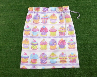 Cupcakes large drawstring bag for library, toys, kindy sheets storage, girls cupcakes bag