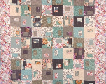 Patchwork Quilt - aqua and gray Japanese Gems throw quilt