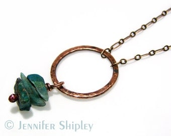 Hammered Copper Circle Necklace: Chrysocolla, Natural Healing Gemstone, Karma, Oxidized Nickel Free Hypoallergenic Hand-Forged Jewelry