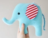Curious Light Blue Plush Elephant - Striped Ears - READY TO SHIP