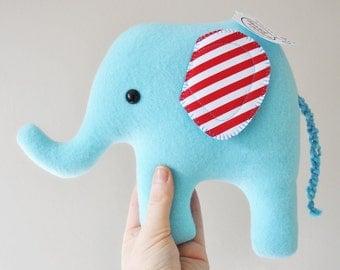 Curious Light Blue Plush Elephant - Striped Ears - READY TO SHIP