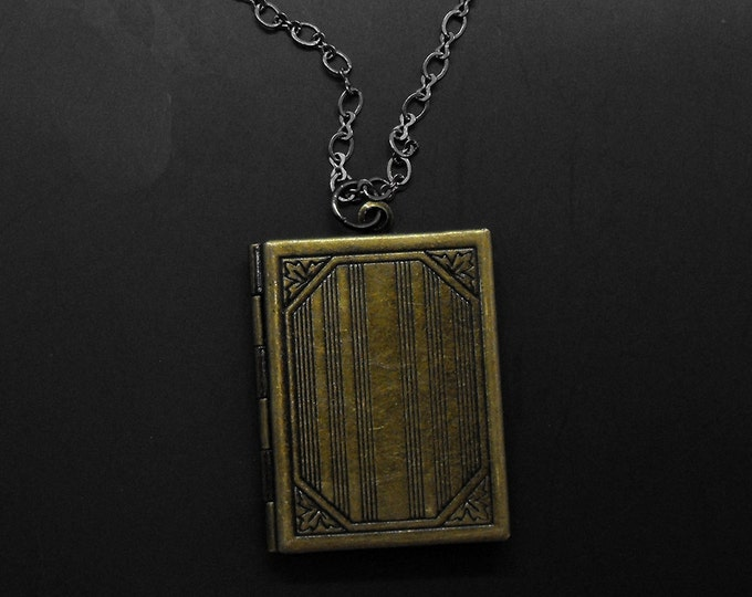 Book Locket Necklace Vintage Style Long Necklace